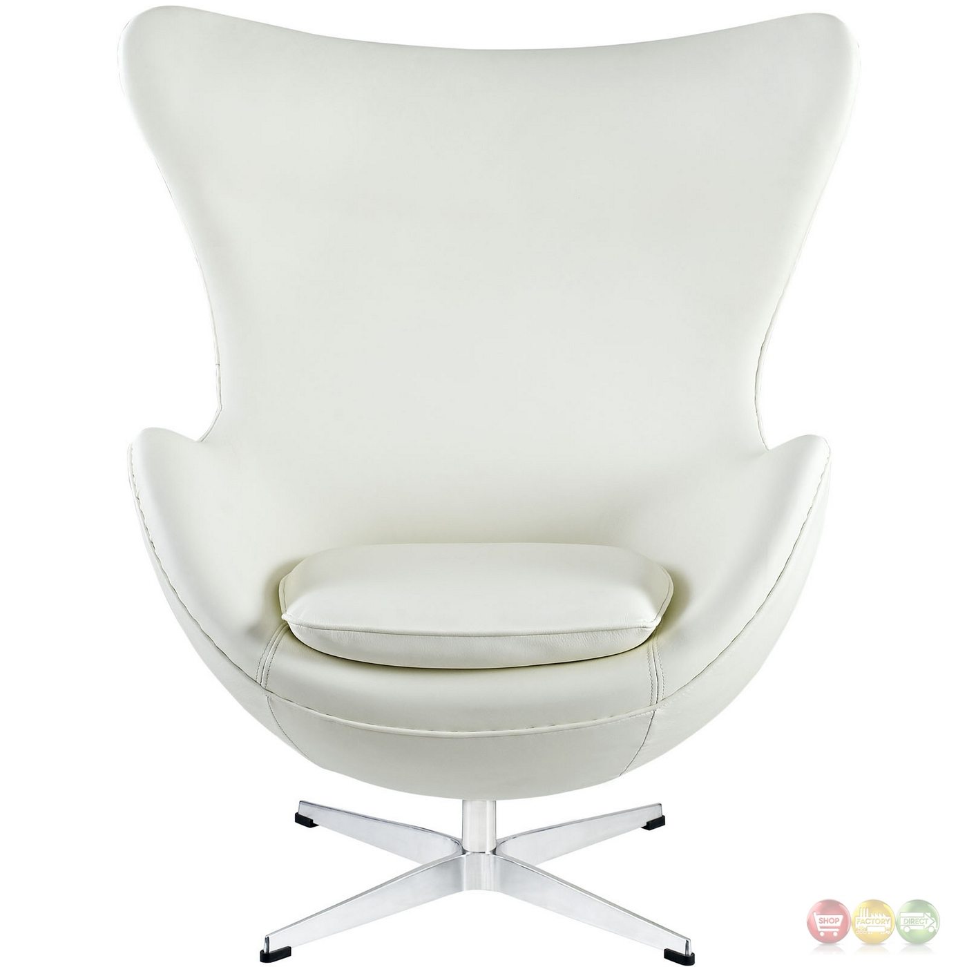 Glove mid century modern italian leather lounge chair white for Mid century modern leather chairs
