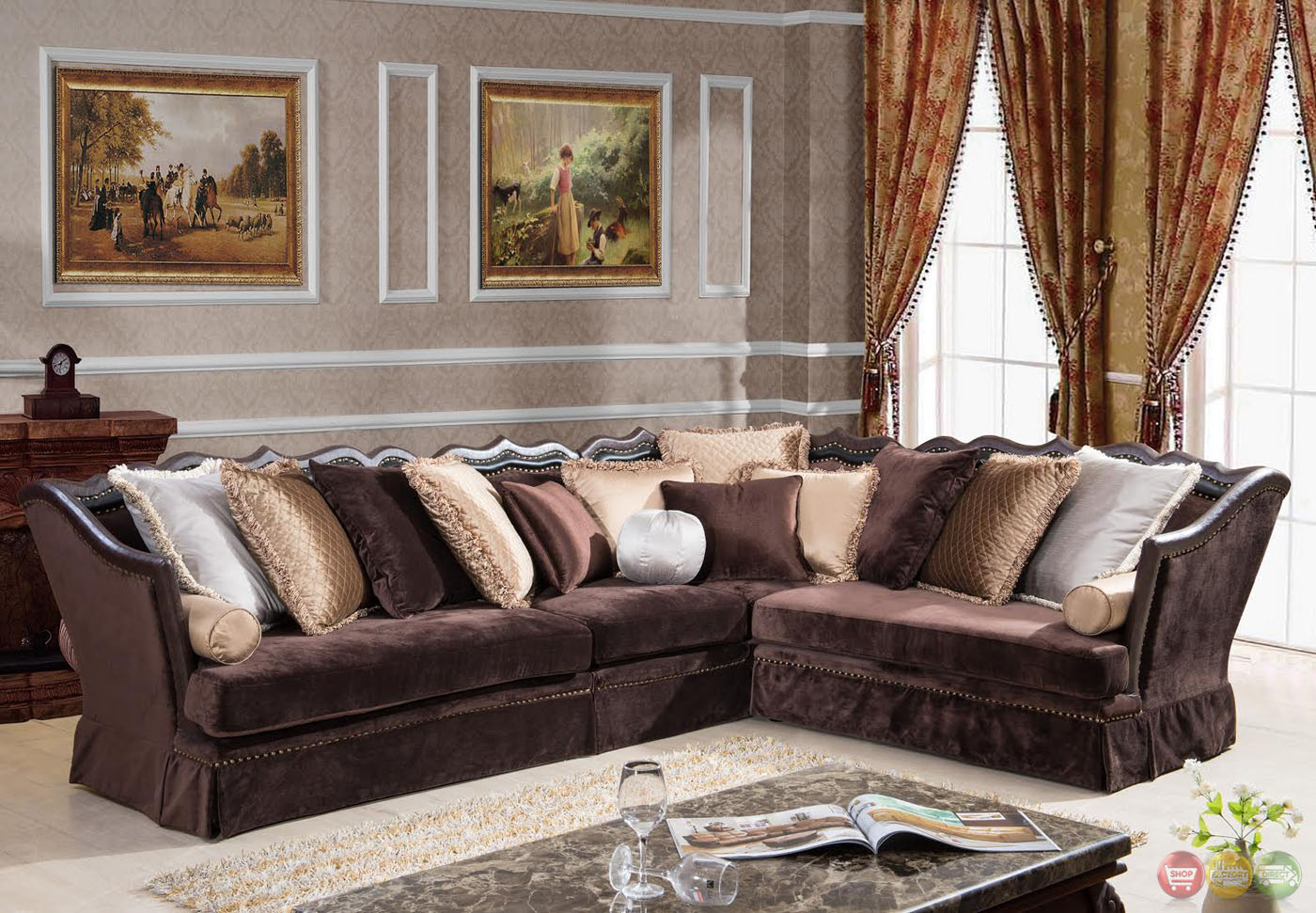 godiva formal antique style traditional living room With sectional sofa for formal living room
