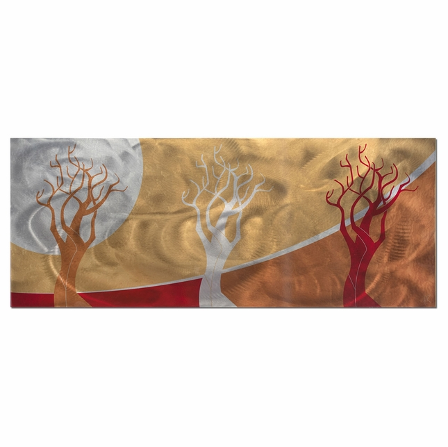 Golden Seasons Sunset Landscape Modern Metal Abstract Art L0021
