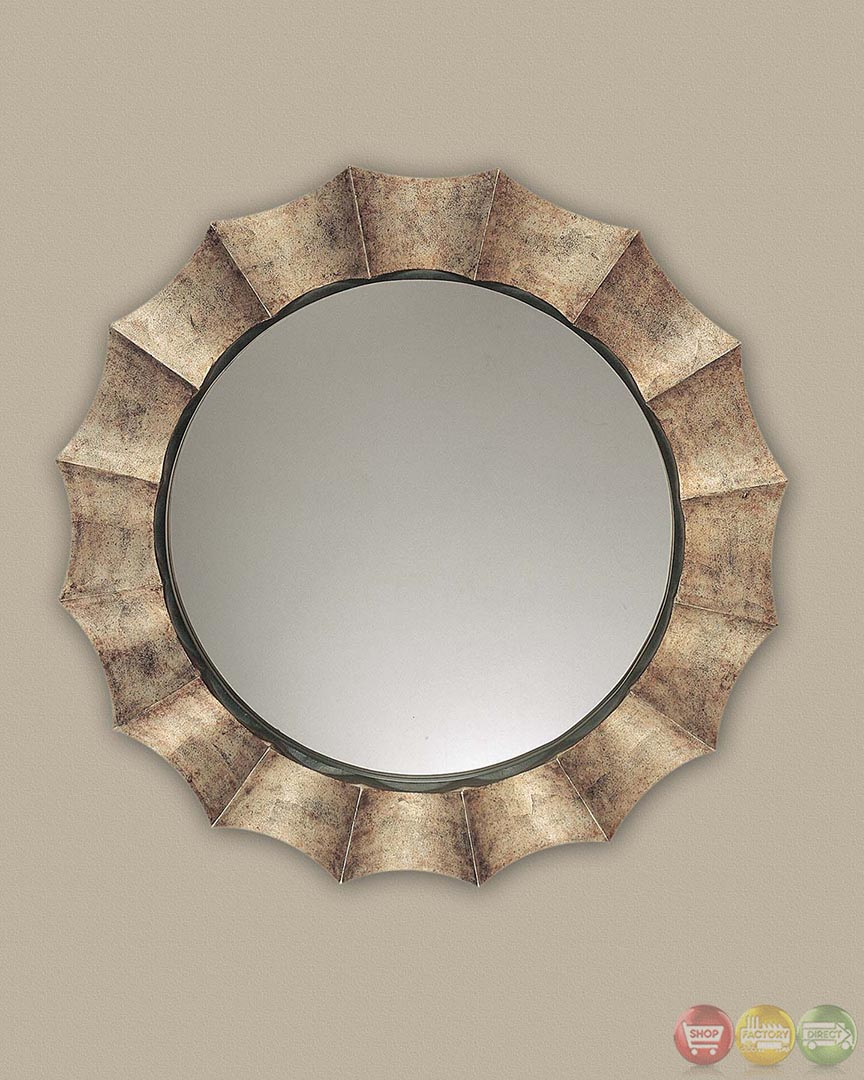 Gotham modern tarnished silver round mirror w scalloped Modern round mirror