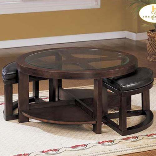 gouki round glass cocktail table two ottomans set home elegance. Black Bedroom Furniture Sets. Home Design Ideas