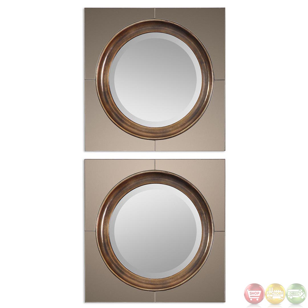 Gouveia Modern Antiqued Gold Mirror With Unique High Style