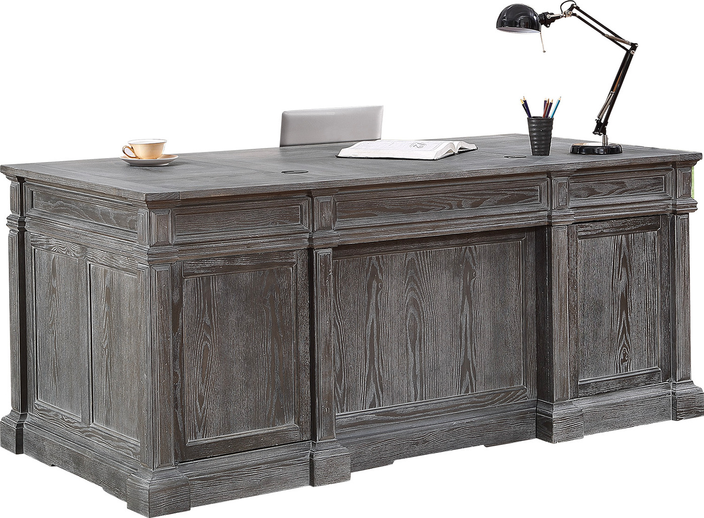 Gramercy Park Rustic Double Pedestal Executive Desk In Vinta