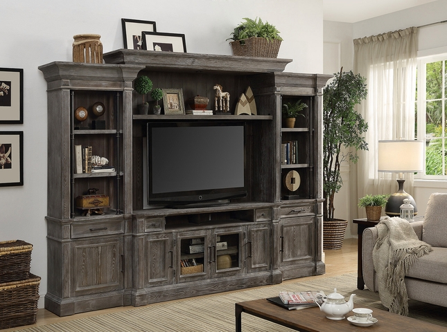 Gramercy Park Rustic Entertainment Wall Unit In Vintage