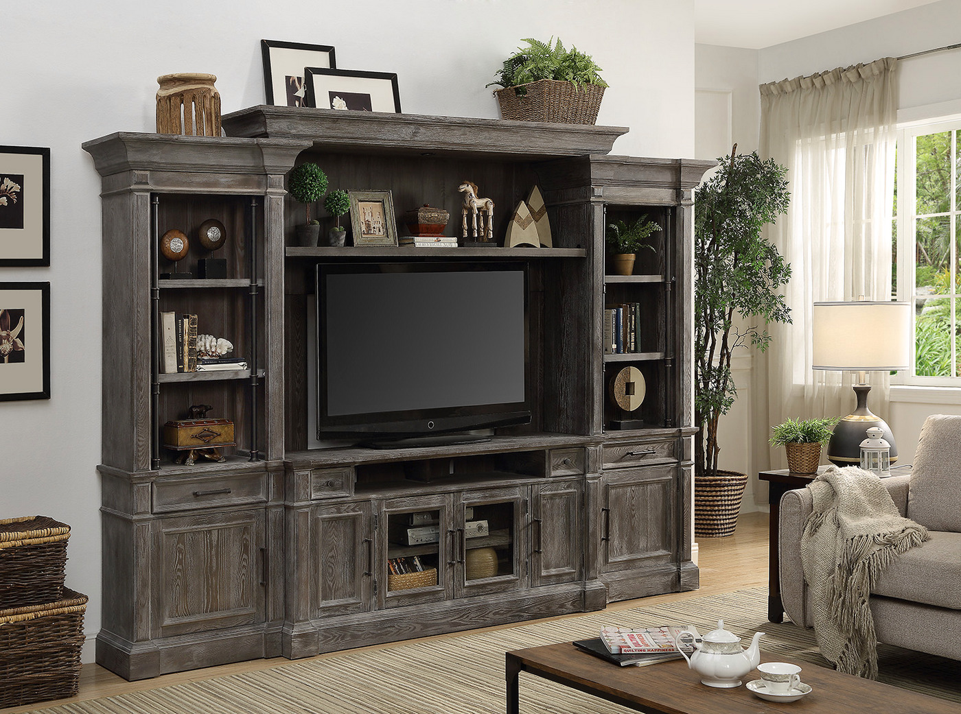 Gramercy Park Rustic Entertainment Wall Unit In Vintage Burnished Smoke  Finish