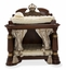 Grand Masterpiece Classic Ornate Wooden Dog Bed w/Golden Accents in Royal Sienna