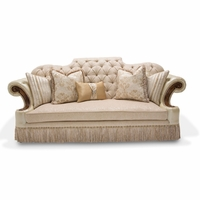 Awesome Grand Masterpiece Classic Tufted Mansion Sofa In Beige Fabric U0026 Wood Accents