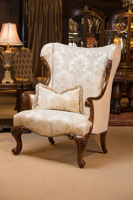 Grand Masterpiece Pearl Damask Fabric Wingback Chair W/Royal Sienna Wood  Trim