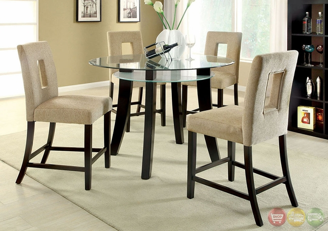 Grandam II Contemporary Espresso Counter Height Dining Set With Upholstered  Chair