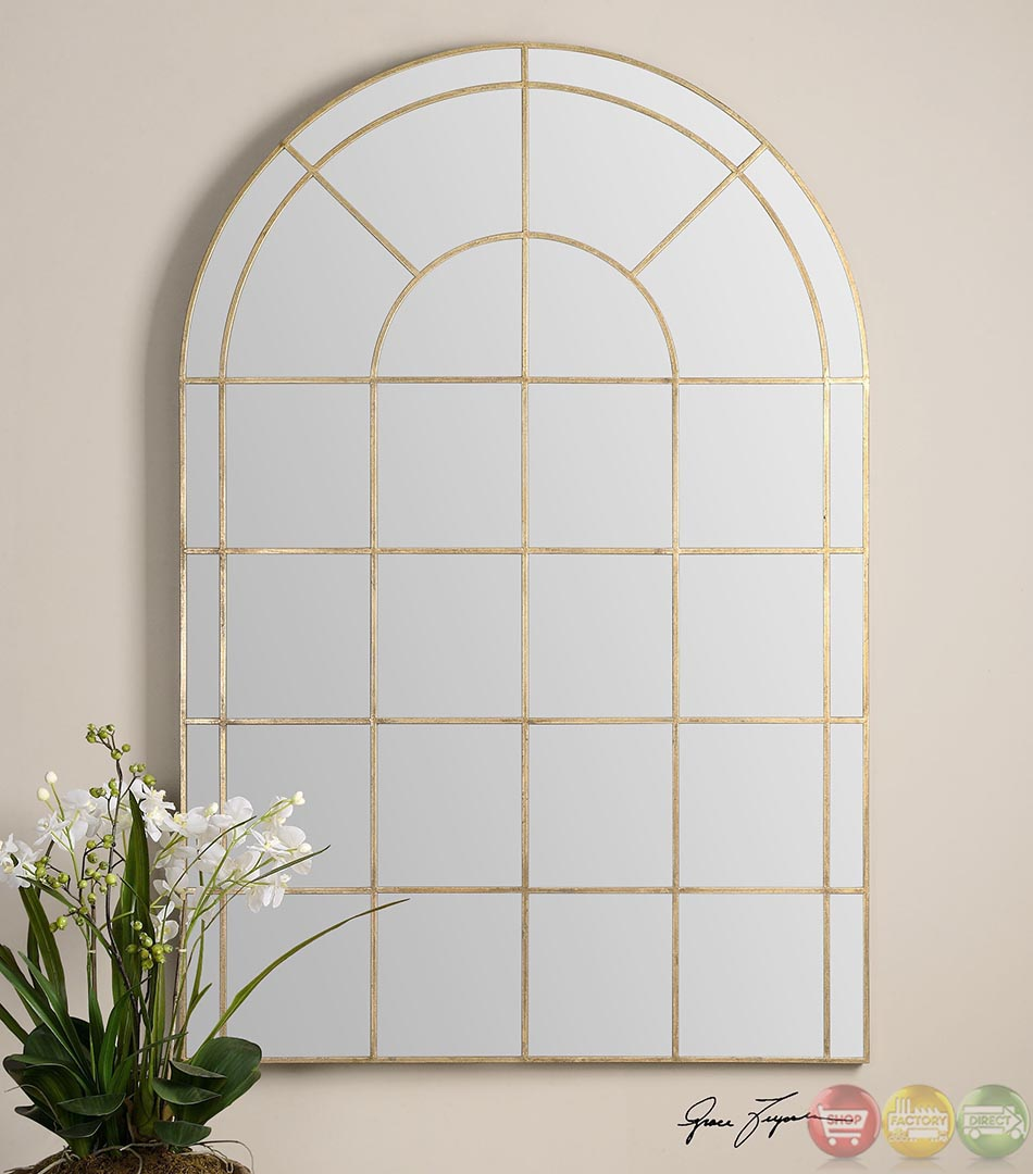 Grantola antiqued gold arched window pane mirror 12866 for Gold window mirror