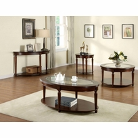 Granvia Dark Cherry Accent Tables Set with Beveled Glass Top