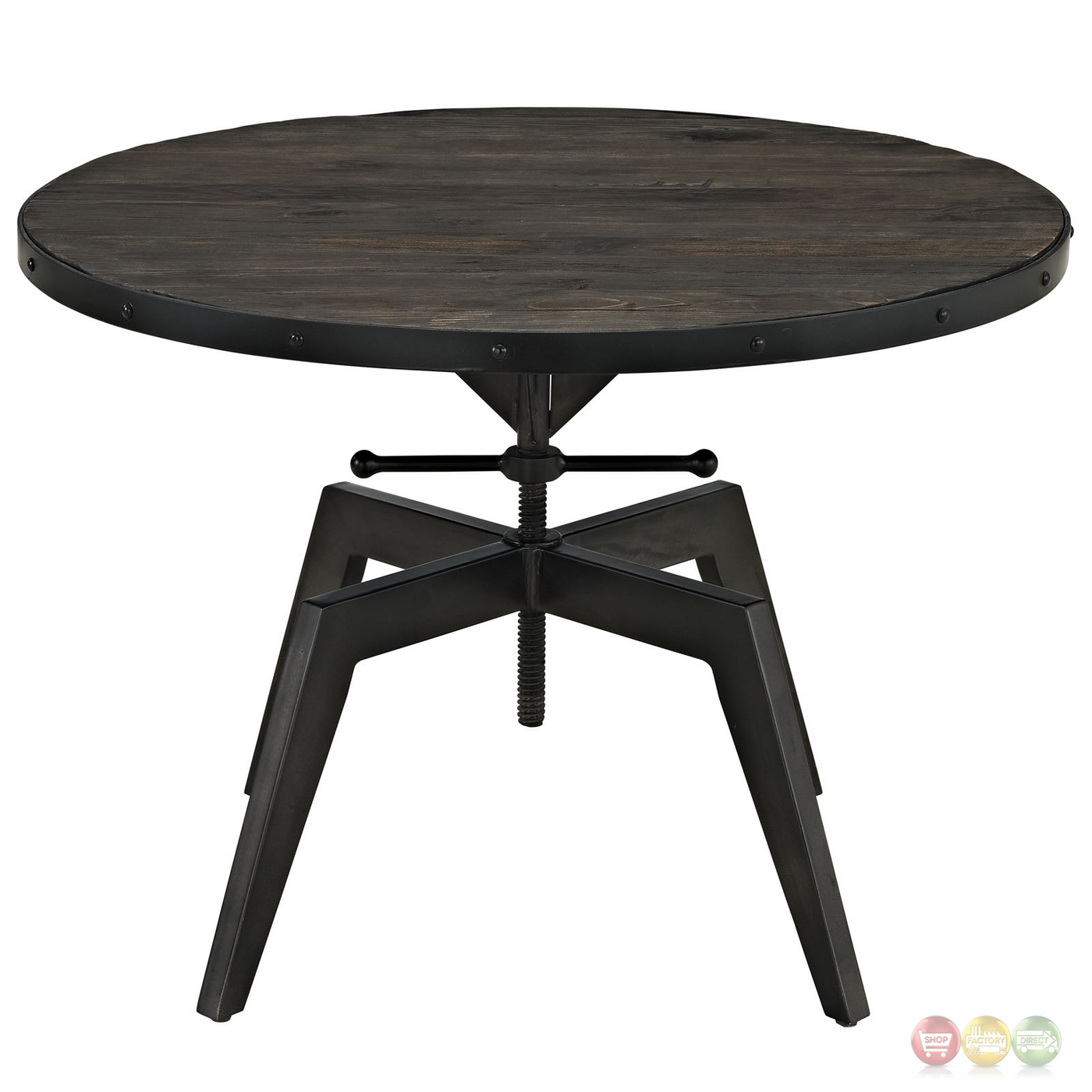 Grasp Industrial Round Pine Wood Coffee Table With Metal Trim Base Black