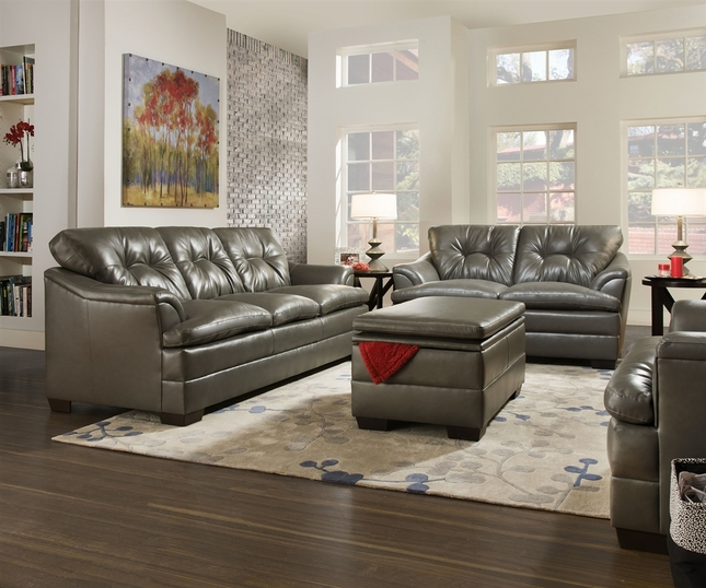Gray Contemporary Tufted Bonded Leather Living Room Sofa Set ...