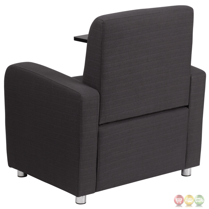Gray Fabric Guest Chair With Tablet Arm And Chrome Legs