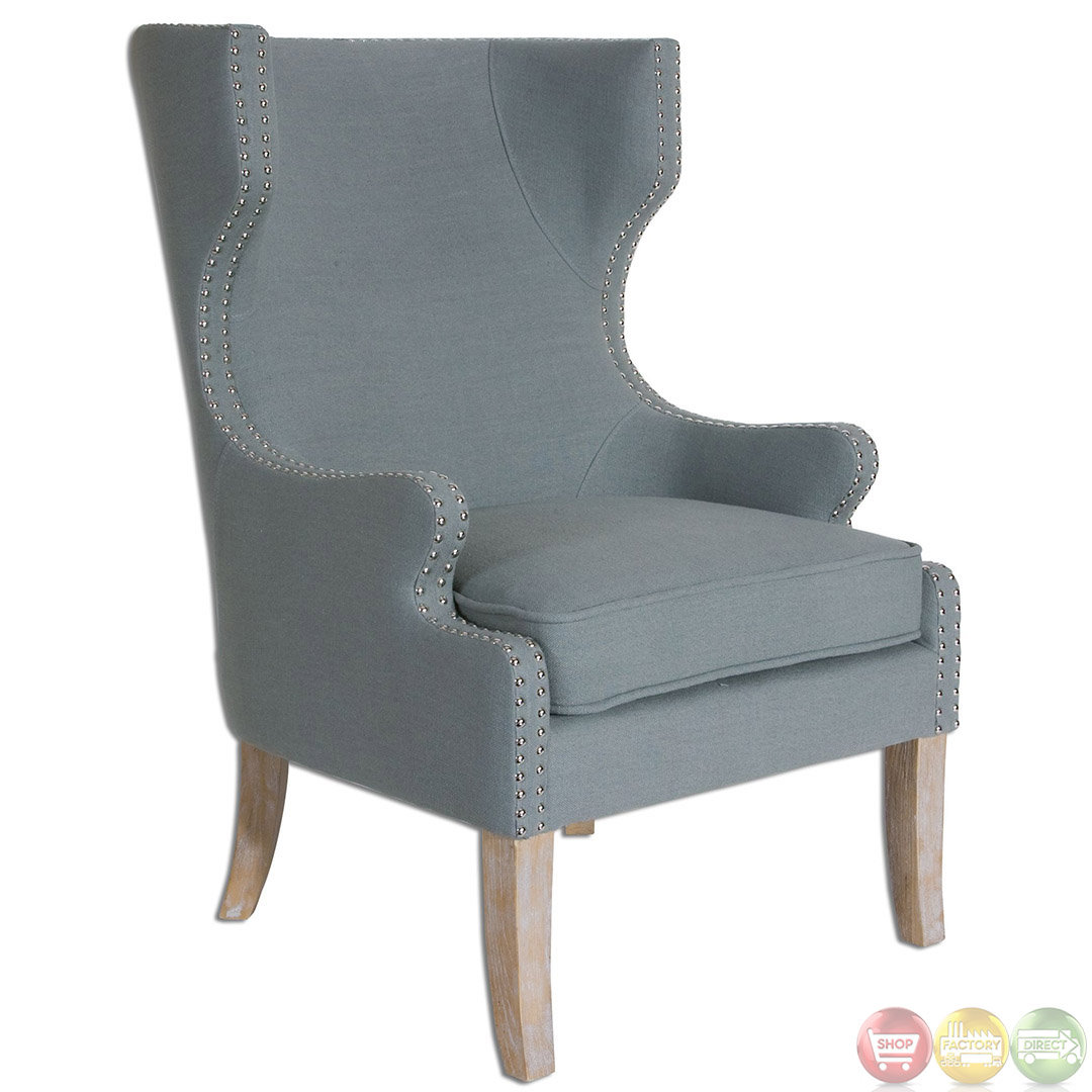 graycie traditional high back wing chair 23136. Black Bedroom Furniture Sets. Home Design Ideas