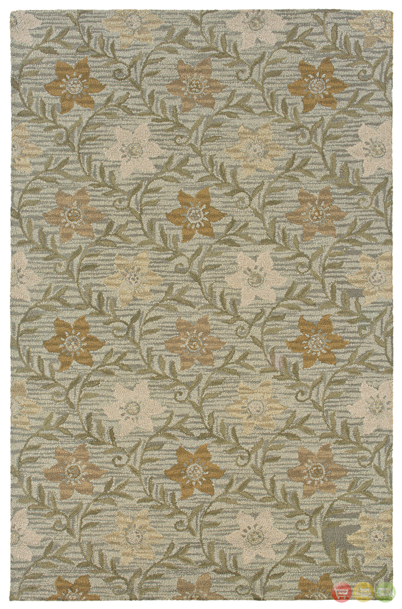 Rizzy Rugs Green Floral Hand Tufted Area Rug Country Ct0917