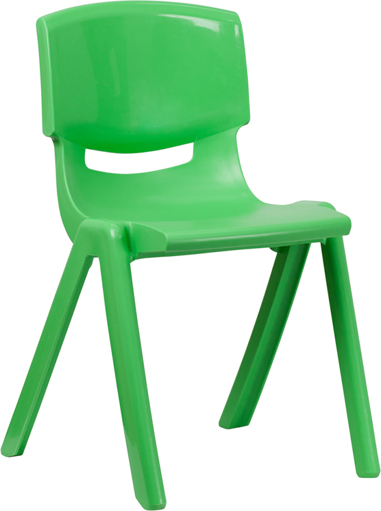 Green Plastic Stackable School Chair With 18 Inch Seat