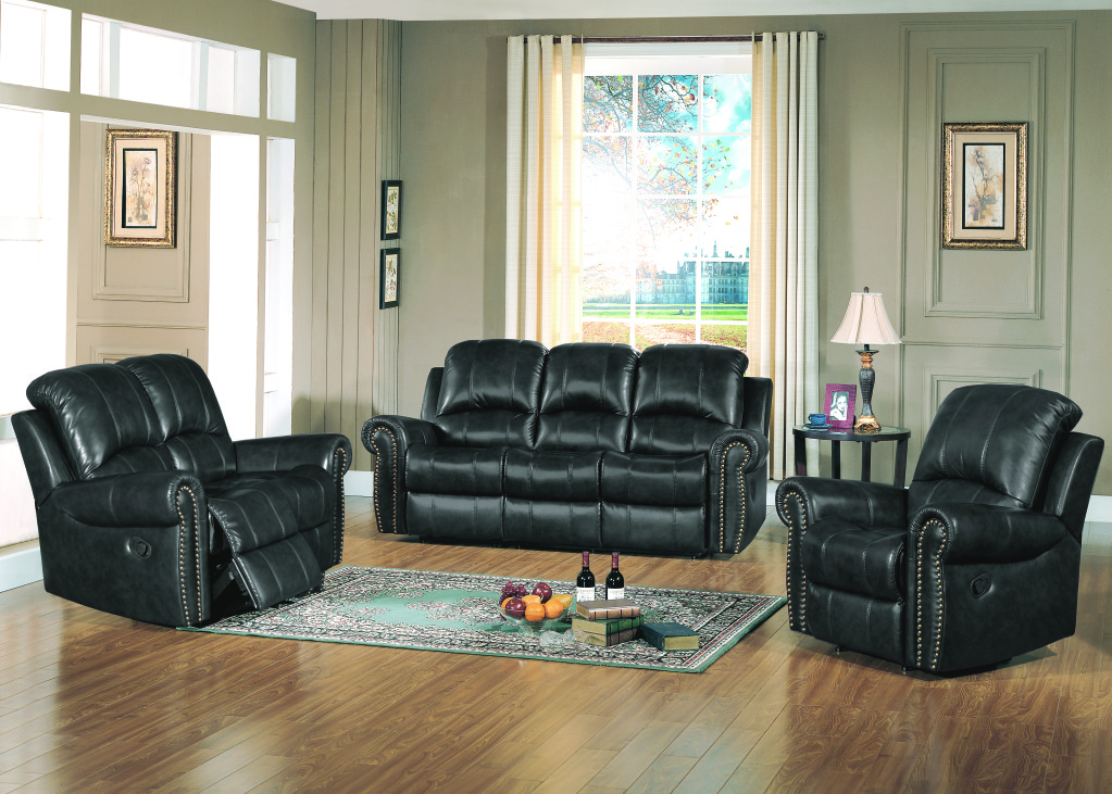 Black Leather Living Room Furniture : Black Leather Living Room Set