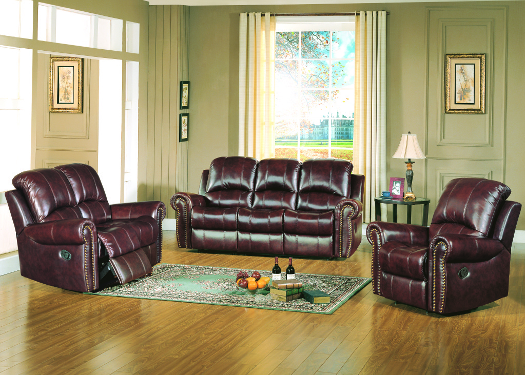 gretna traditional brown leather reclining sofa and
