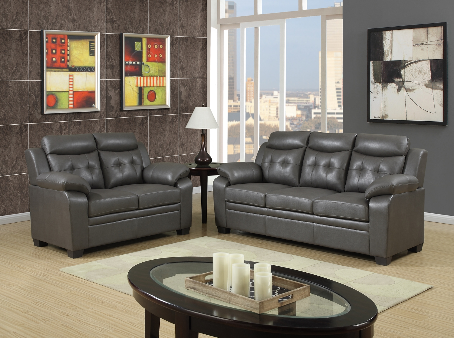 Grey apartment size casual contemporary bonded leather - Gray modern living room furniture ...