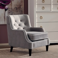 Grey Button Tufted Accent Chair With White Welted Trim