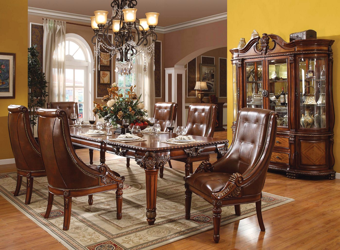 Greyson Traditional 5 Pc Ornate 80 Quot 120 Quot Dining Table Set