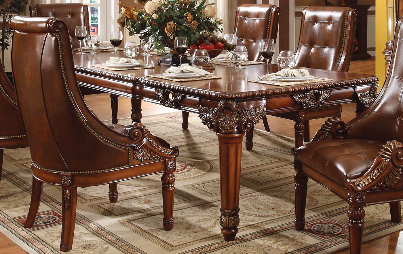 Greyson traditional 5 pc ornate 80 120 dining table set for Greyson dining table