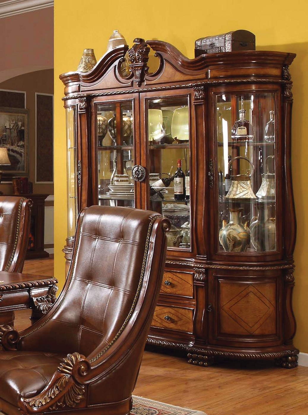 Greyson Traditional Ornate Touch Light China Cabinet in Cherry Finish
