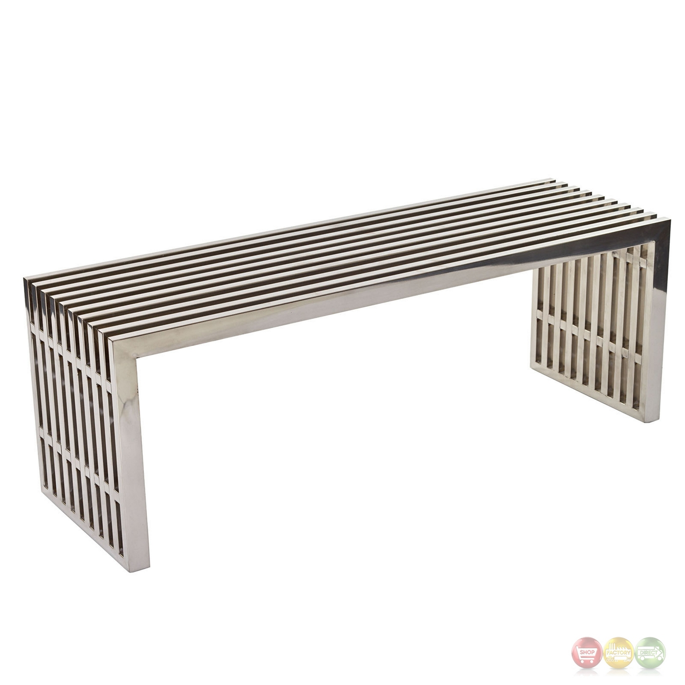 Gridiron Contemporary Medium Stainless Steel Slatted Bench Silver