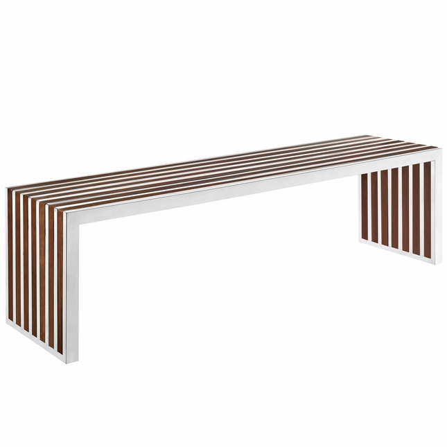 Gridiron Large Modernistic Small Steel Bench With Wood