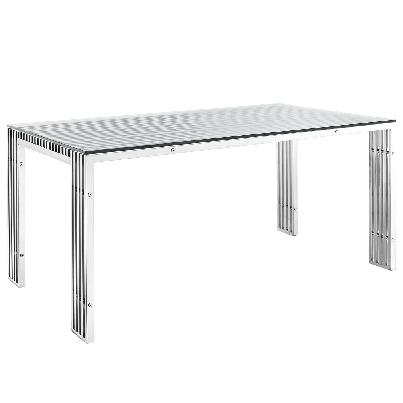 Gridiron Modernistic Stainless Steel Dining Table With