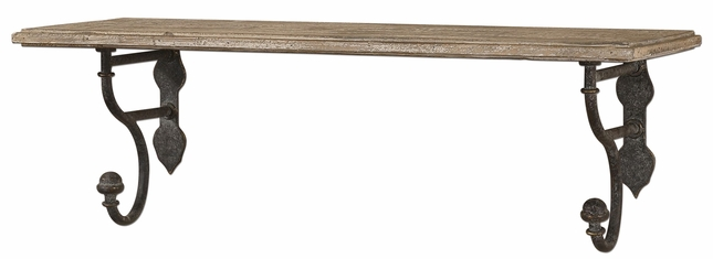 Gualdo Traditional Rustic Olive Bronze Aged Wood Shelf  13824