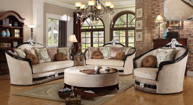 Guliana Victorian Beige Sofa & Loveseat Set In Chenille & Ebony