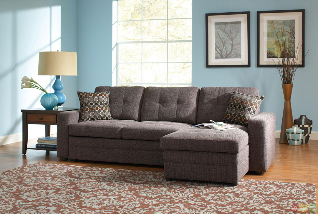Gray Button Tufted Convertable Sectional Sleeper Sofa W Pull Out Bed Pillows Ebay