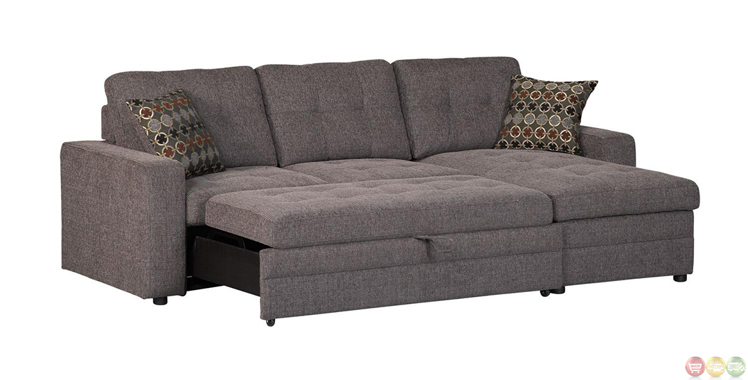 Gus minimalist button tufted sectional sofa with pull out bed for Sectional sofa with pull out bed and recliner