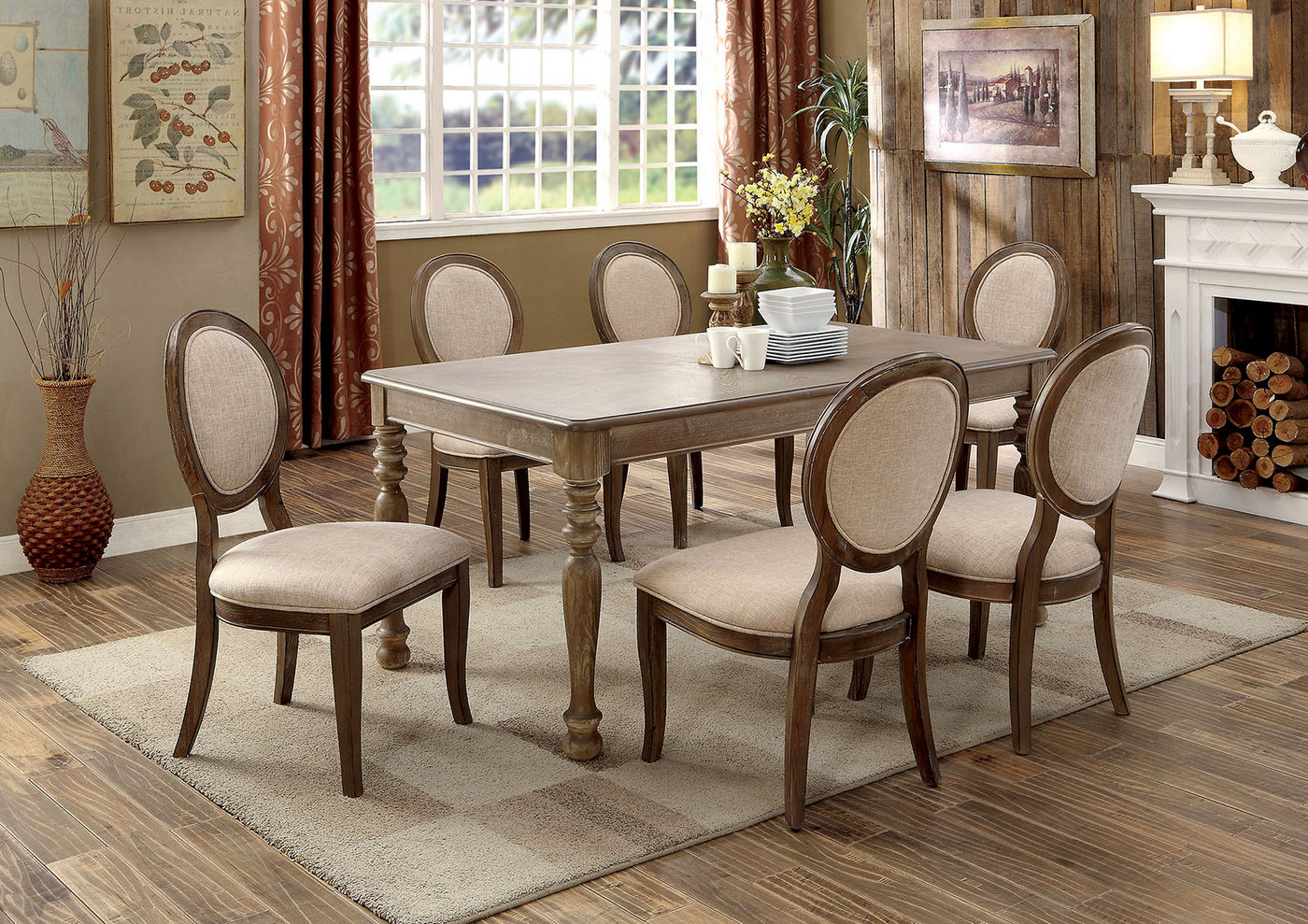 set of 2 hadley wood round back dining chairs in rustic oak ivory fabric. Black Bedroom Furniture Sets. Home Design Ideas