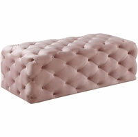 Hadley Contemporary Pink Velvet Deep Button Tufted Ottoman with Plush Padding