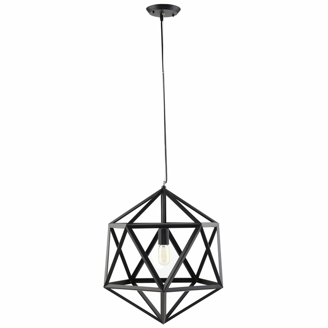"Hadron 22"" Geometric Welded Steel Pendant Chandelier, Black"