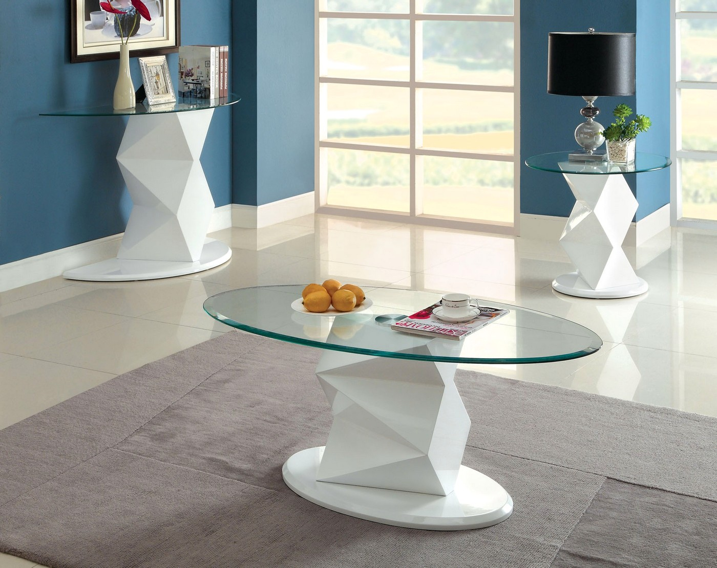 Halawa V Contemporary White Accent Tables With High Gloss