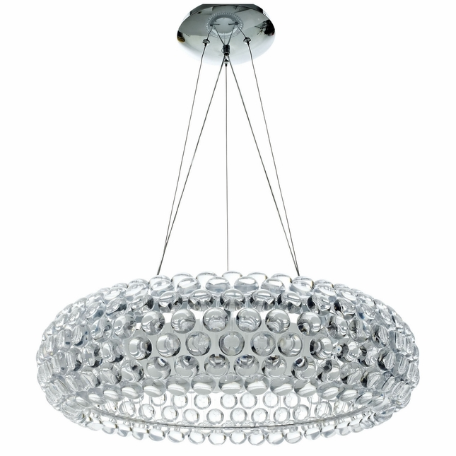 "Halo Contemporary Halo-inspired 25"" Acrylic Pendant Chandelier, Clear"