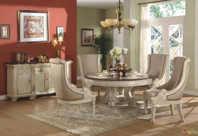 Antique White Round Formal Dining Room Set