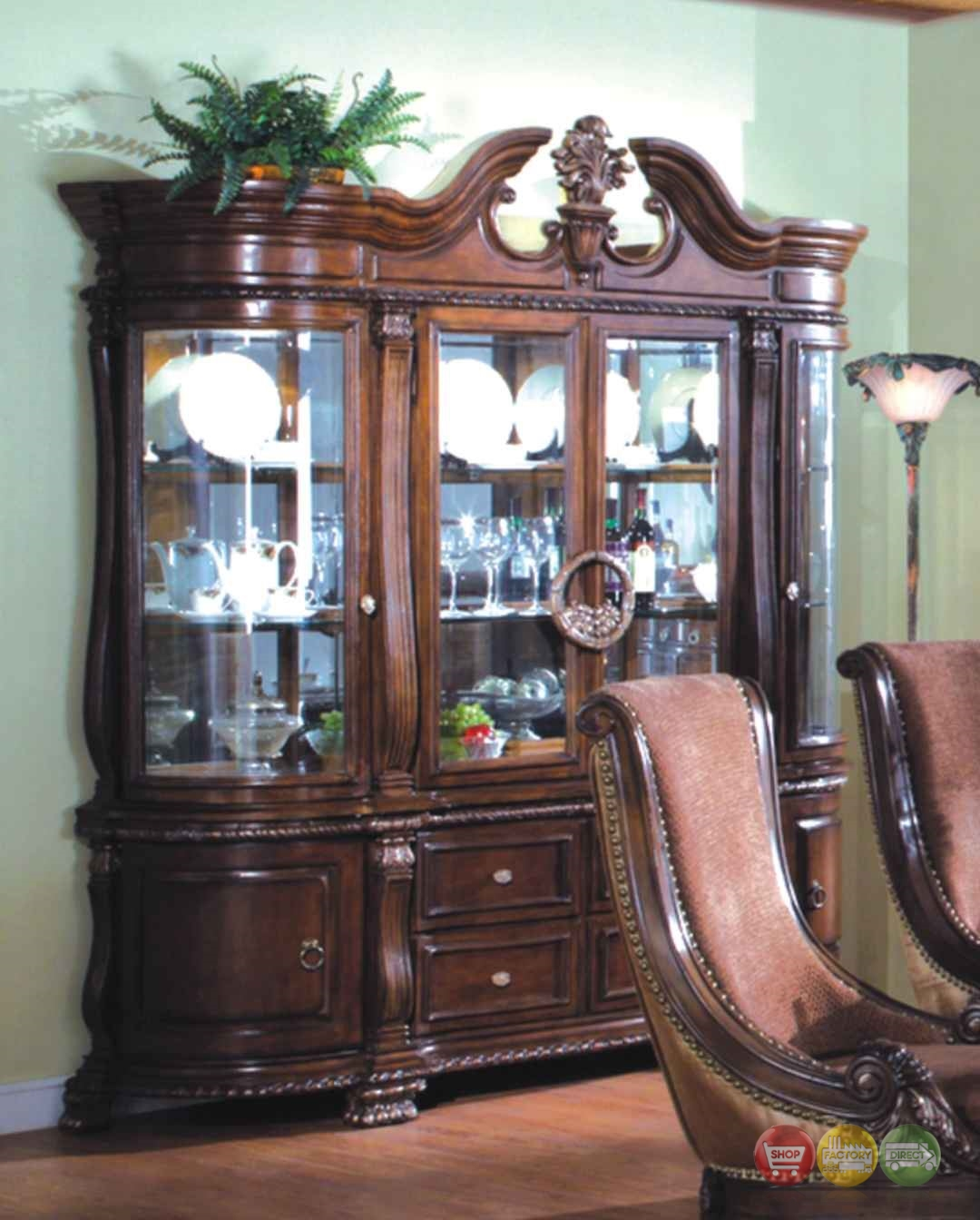 Halyn formal dining china cabinet with antique brown finish for Formal dining room sets with china cabinet
