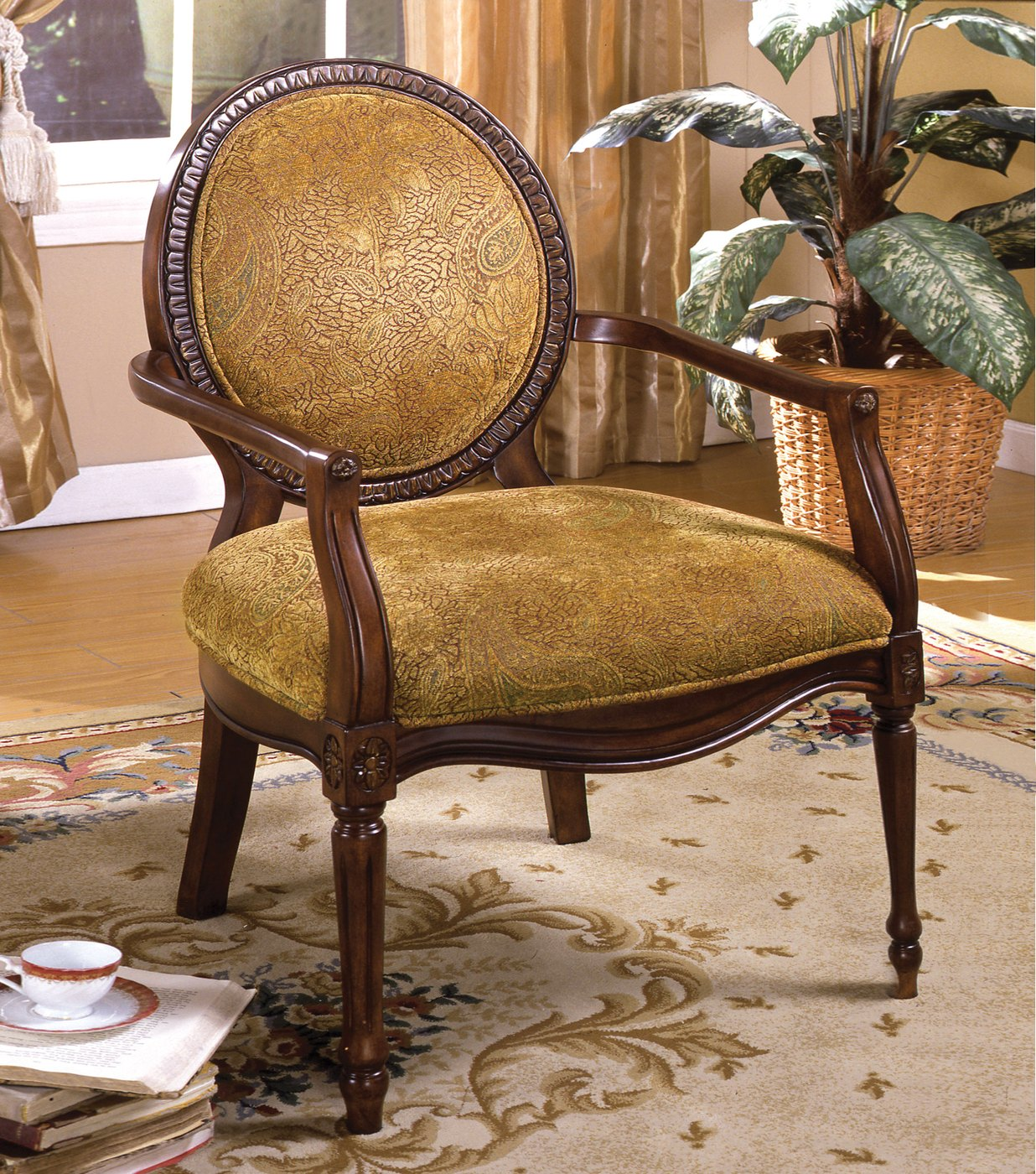 Hamilton dark oak accent chair with padded leatherette