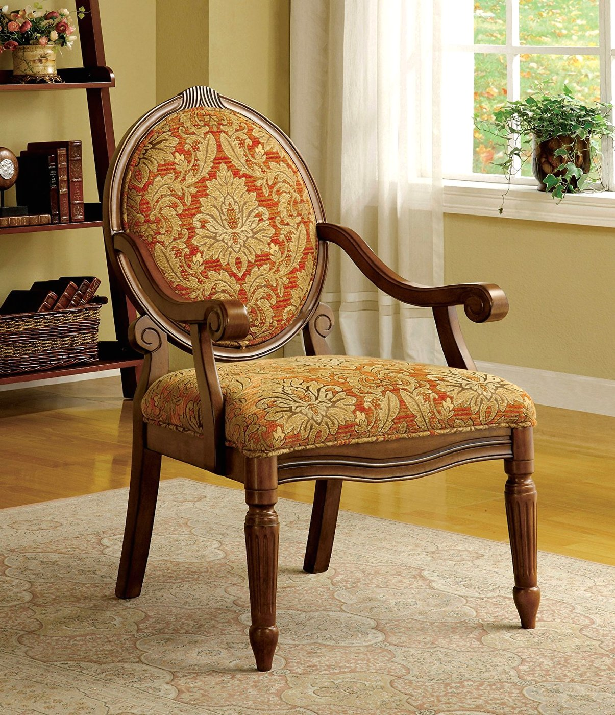 Hammond Antique Oak Accent Chair With Padded Fabric Seat