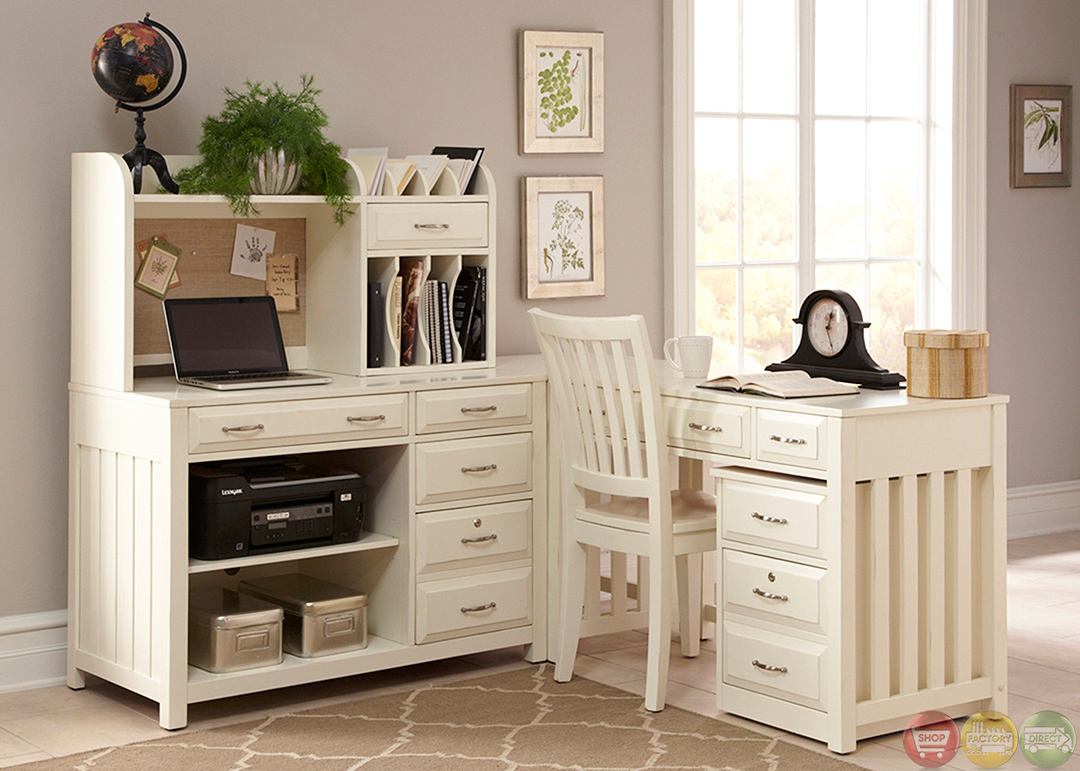 Hampton Bay Antique White L Shaped Home Office Desk