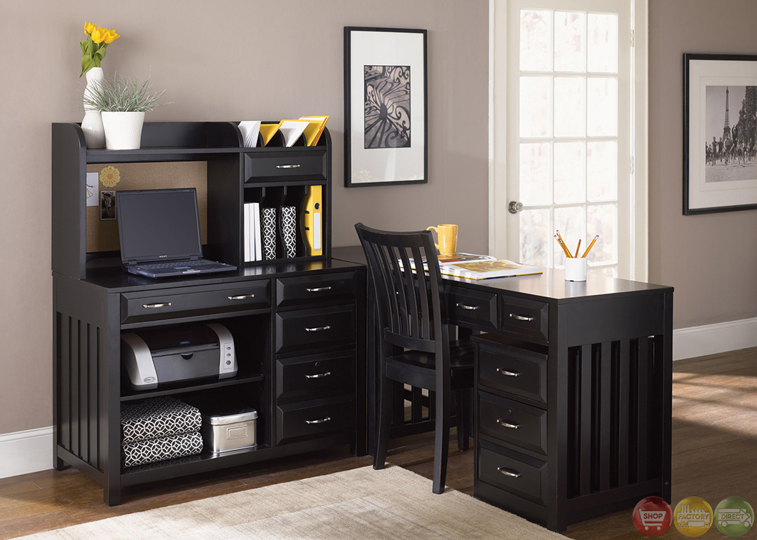 Hampton bay black finish l shaped home office desk Home office desks