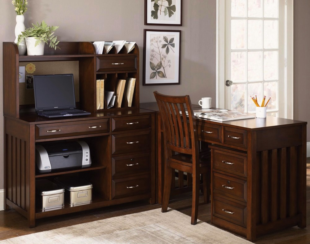 Warm Cherry Executive Desk Home Office Collection: Hampton Bay Cherry Finish L Shaped Home Office Desk