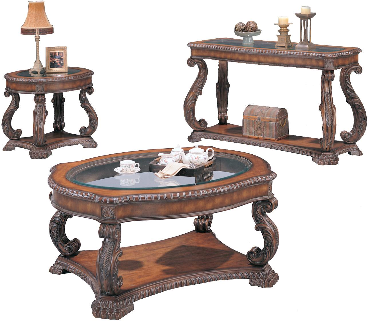 Hand carved traditional brown 3 piece living room table set Traditional coffee table