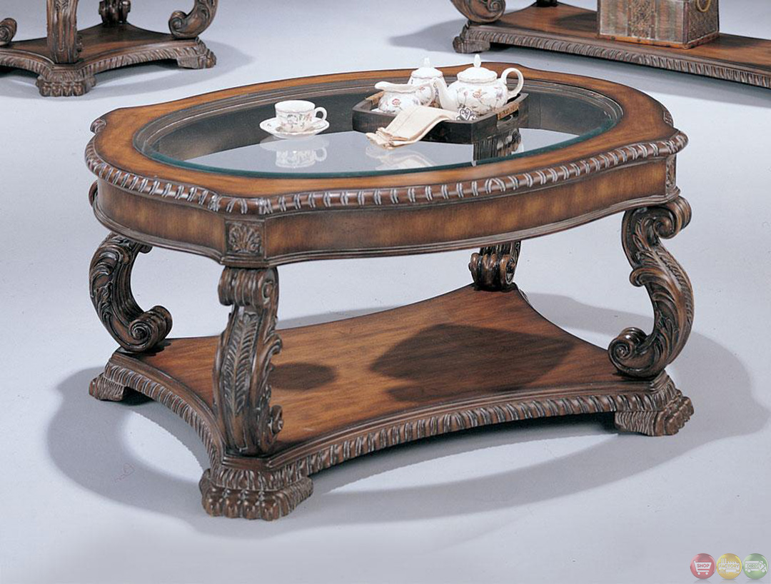 Hand carved traditional brown 3 piece living room table set for 5 piece living room table set