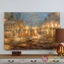 """Handpainted Lights Of The City Contemporary Abstract Canvas Wall Art, 60""""x40"""""""